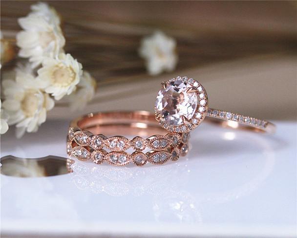 VS Morgannite Ring Set Diamond Ring Wedding Ring Set Solid 14K Rose Gold Ring Set