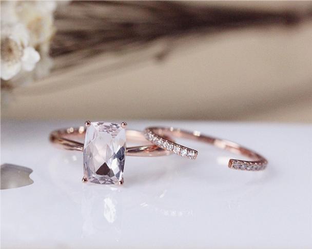 Cushion Morganite Engagement Ring Set Solid 14K Rose Gold  Morganite Ring Set Wedding Ring Set