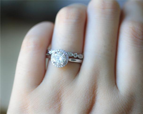 1ct Round Brilliant Moissanite Engagement Ring Set Solid 14K White Gold Ring Set Wedding Ring Set