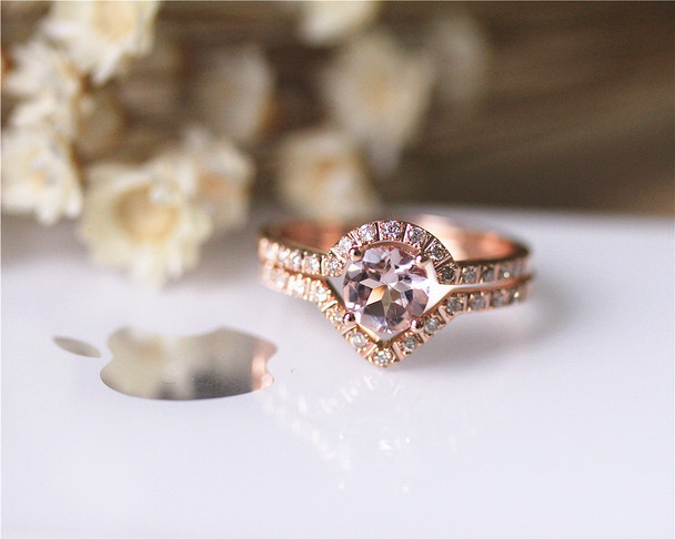 Romantic Ring Set 14K Rose Gold Pink Morganite Ring Set Wedding Ring Set Engagement Ring Set