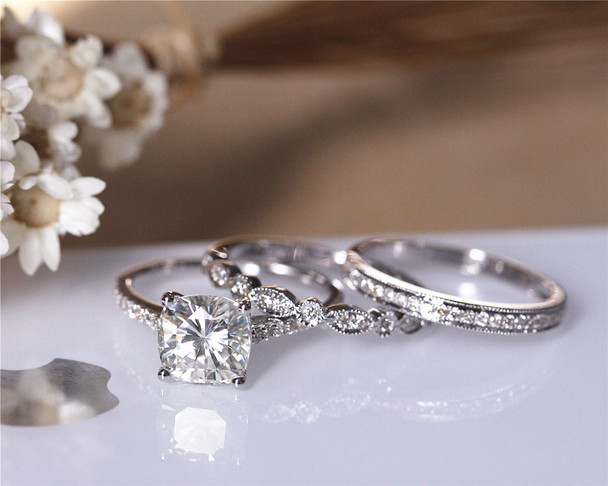 3 Rings Set! Charles & Colvard 2ct Cushion Moissanite Engagement Ring Set Solid 14K White Gold