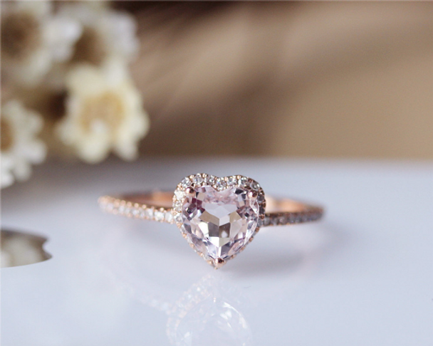 Heart Morganite Ring Solid 14K Rose Gold Morganite Engagement Ring Wedding Ring Promise Ring