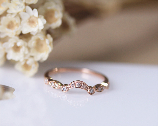 Half Eternity Natural Diamond Band Solid 14K Rose Gold Diamond Engagement Ring Wedding Ring