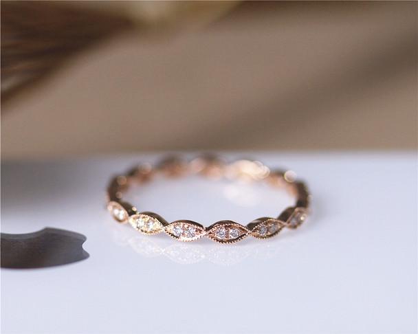 Full Eternity Marquise Style Solid 14K Rose Gold Natural Diamond Wedding Band  Diamond Engagement