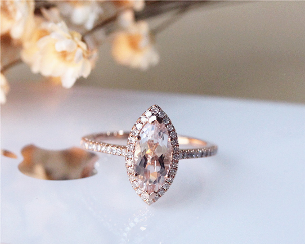 Unique Marquise Morganite Ring Morganite14K Rose Gold Engagement Ring Solid Wedding Ring