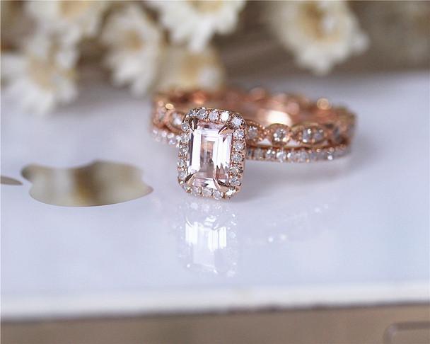 Engagement Ring Set 14K Rose Gold Morganite Wedding Ring Set Milgrain Morganite Ring Set