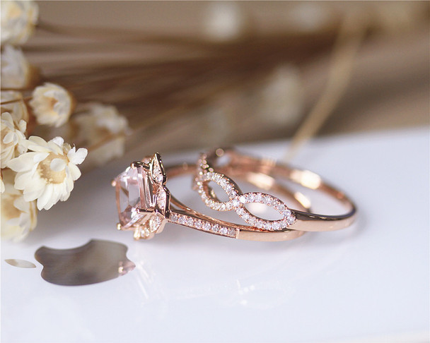 Princess Morganite Engagement Ring Set Solid 14K Rose Gold Morganite Ring Set Wedding Ring Set