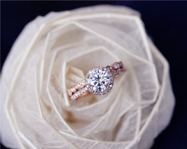 2 Rings Set Forever Classic Moissanite Engagement Ring Set Solid 14K Rose Gold Wedding Ring Set