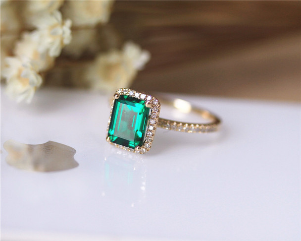 Emerald AAA Emerald Ring Solid 14K Yellow Gold Wedding Ring Emerald Engagement Ring