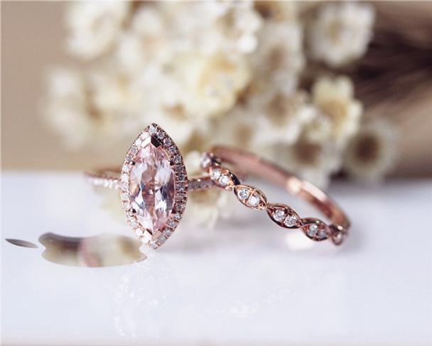 Solid 14K Rose Gold  Morganite Engagement Ring Set Marquise Morganite Ring Set