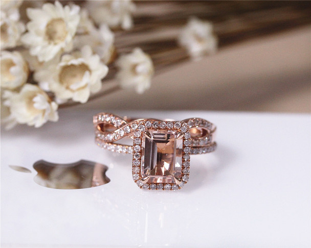 VS Morganite Wedding Ring Set  Emerald Cut Solid 14K Rose Gold Morganite Ring Set
