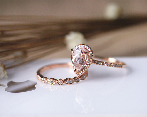2PCS Wedding Ring Set Solid 14K Rose Gold Ring Set Pear Morganite Ring Set Diamond Ring Set