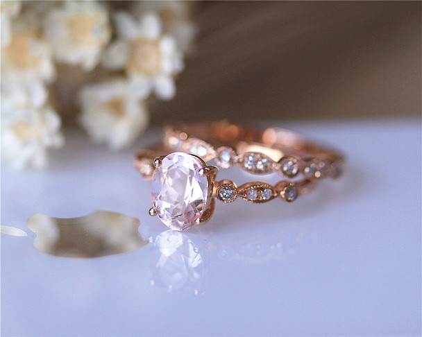 Ring Set Solid 14K Rose Gold Ring Set Oval VS Morganite Ring Set Engagement Ring Set