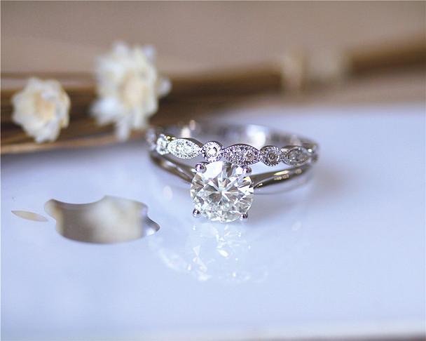 Charles and Colvard Forever Classic Moissanite Engagement Ring Set Solid 14K White Gold Ring Set