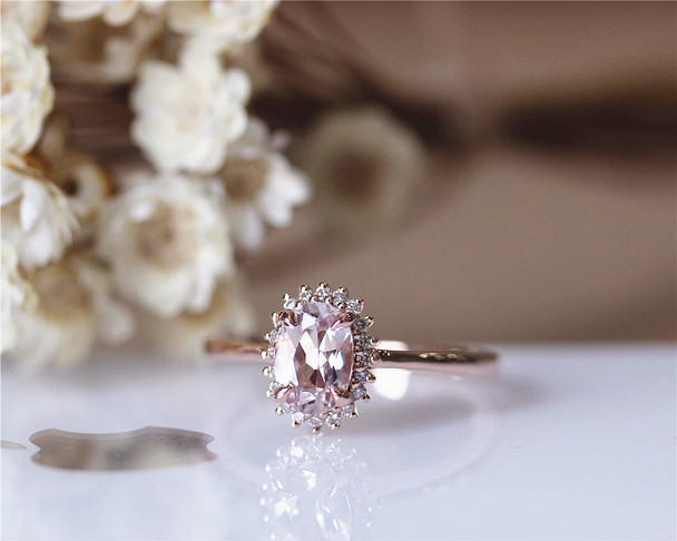 5x7mm Vintage Morganite Ring 14K Rose Gold Pave Milgrain Diamonds Morganite Engagement Ring