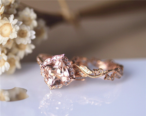 2.5ct 8mm Cushion Morganite Ring Set Solid 14K Rose Gold Ring Set Morganite Engagement Ring Set