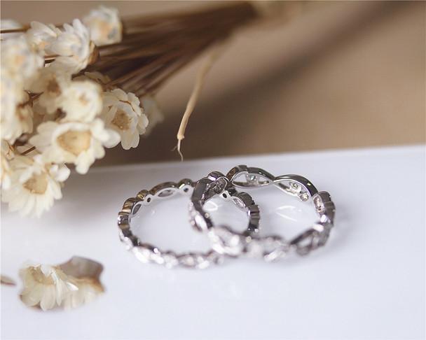 2 Rings Set Diamonds Wedding Band Set Wedding Ring Set Solid 14K White Gold Engagement Set
