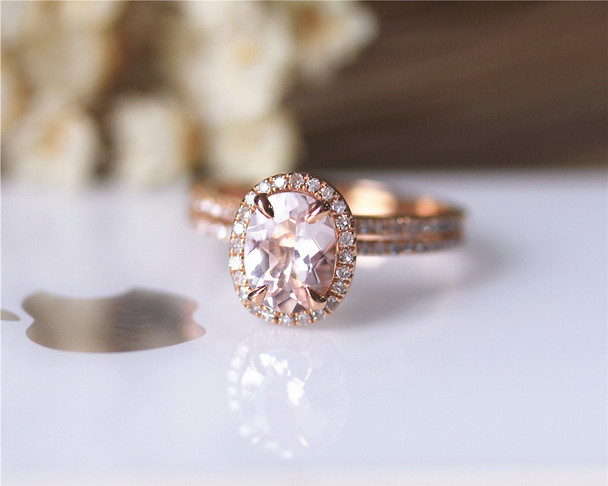 Oval Pink Morganite Ring Set VS Morganite Ring Diamonds Ring Set Wedding Ring Solid 14K Rose Gold