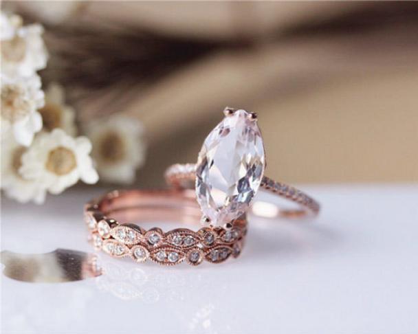 Unique Design Marquise Morganite Ring Set Solid 14K Rose Gold  Morganite Engagement Ring Set