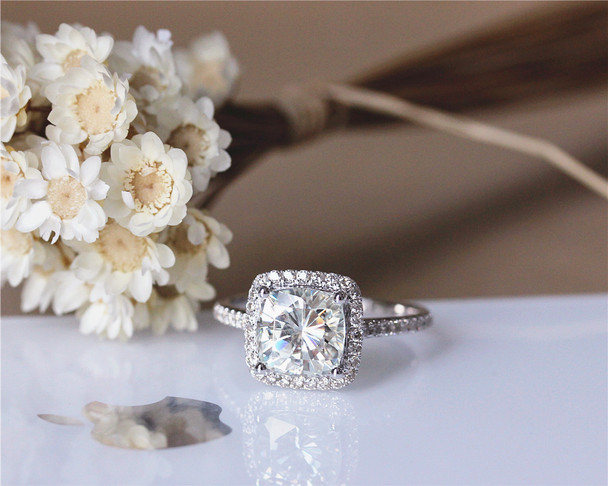 7.5mm 2ct Cushion Moissanite Engagement Ring 3/4 Eternity Solid 14K White Gold