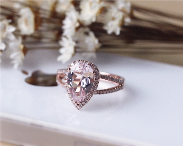 3ct Pear Cut Pink Morganite Ring Solid 14K Rose Gold Morganite Engagement Ring