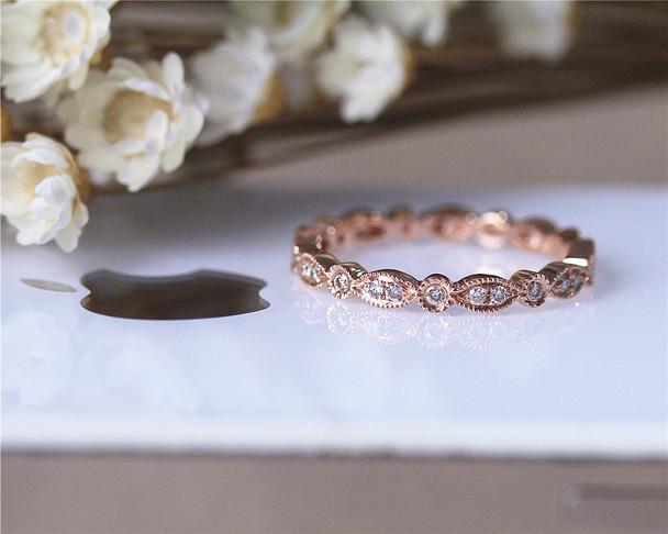 Natural Diamond Full Eternity Wedding Band Milgrain Bezel Solid 14K Rose Gold Diamond Engagement Band