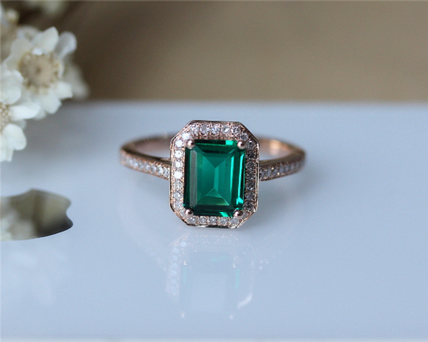 Birthday gift 6x8mm Emerald Ring Solid 14K Rose Gold Ring Wedding Ring Emerald Engagement Ring