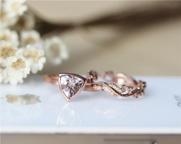 14K Rose Gold Solid Plain 8mm Trillion Cut Morganite Ring Morganite Engagement Ring Set