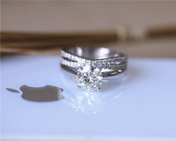 1CT Charles & Colvard Moissanite Engagement Ring Set Solid 14K White Gold Ring Set