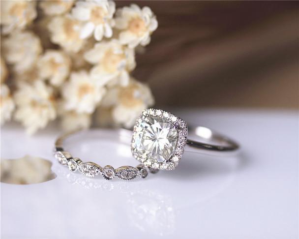 2CTW Charles & Colvard Moissanite Ring Set Solid 14K White Gold Ring Set Engagement Ring Set