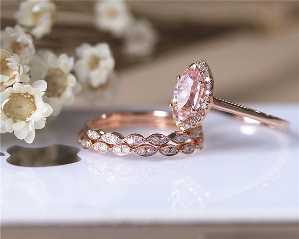 Unique Design Marquise Cut Morganite Ring Set Solid 14K Rose Gold Ring Set