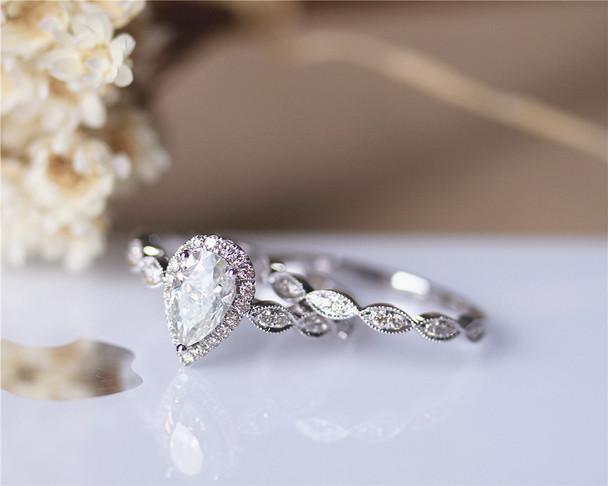 5x8mm Pear Cut Moissanite Ring Set Solid 14K White Gold Ring Set Moissanite Engagement Ring Set