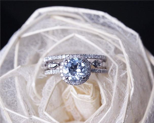 7mm Round Cut Aquamarine Ring Set Solid 14K White Gold Engagement Ring Set