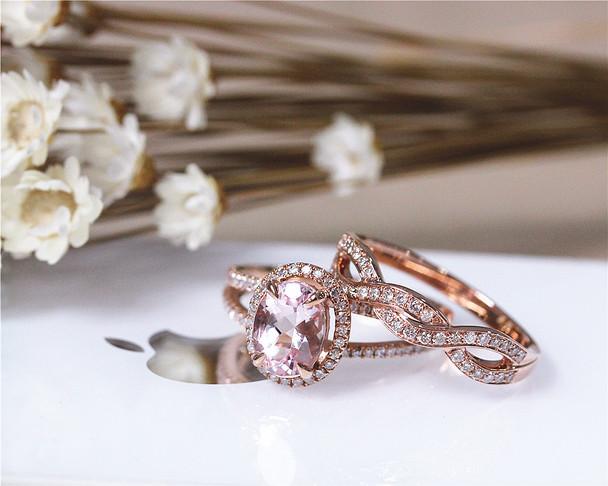2PCS Solid 14K Rose Gold Wedding Ring Set Oval Morganite Ring Set Engagement Ring Set