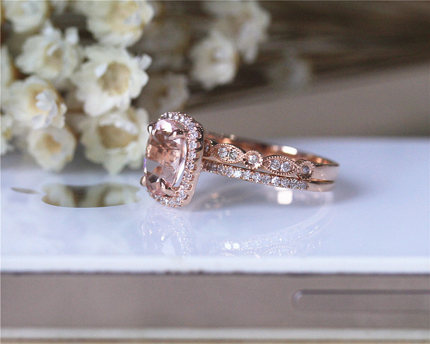 Wedding Ring Set Solid 14K Rose Gold Ring Set Oval Morganite Ring Set Bridal  Ring Set
