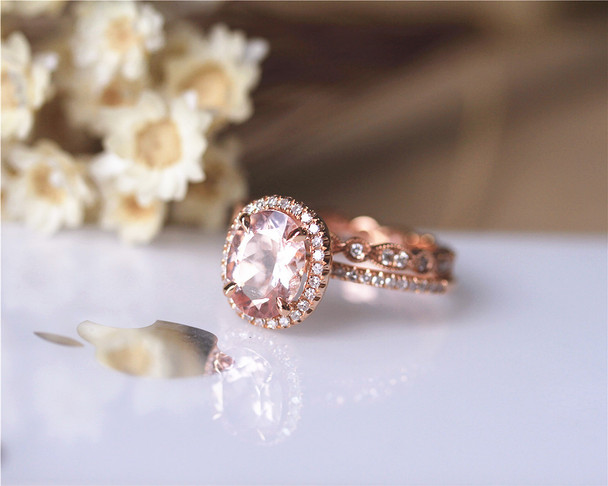 Christmas Engagement Ring Set Solid 14K Rose Gold Ring Set Oval Morganite Ring Set
