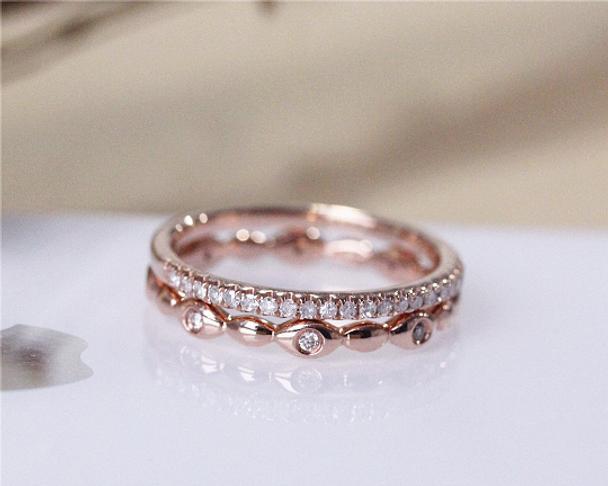 Diamond Wedding Ring Set  Wedding Bands Solid 14K Rose Gold Diamond Engagement Ring Set