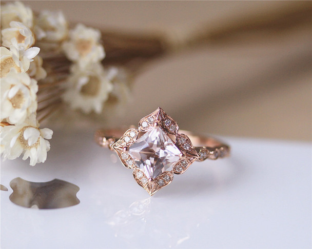 Art Deco 7mm Princess Vintage Floral Morganite Engagement Ring Solid 14K Rose gold Wedding Ring