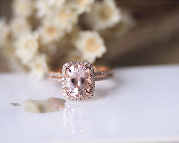 2 Rings Set 7x9mm VS Morganite Ring Set Solid 14K Rose Gold Ring Set Diamond Ring Set