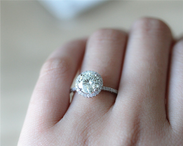 7.5mm Round Charles & Colvard Moissanite Ring Solid 14K White Gold Wedding Ring