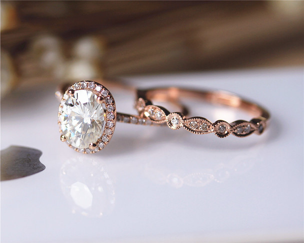 6x8mm Oval Moissanite Ring Set Wedding Ring Set Solid 14K Rose Gold Ring Set Engagement Ring Set