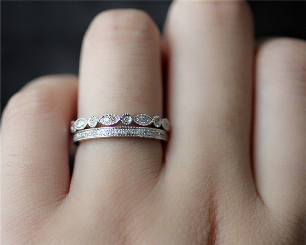 Wedding Ring Set Diamonds Band Set Solid 14K White Gold Diamonds Engagement Set Half Eternity