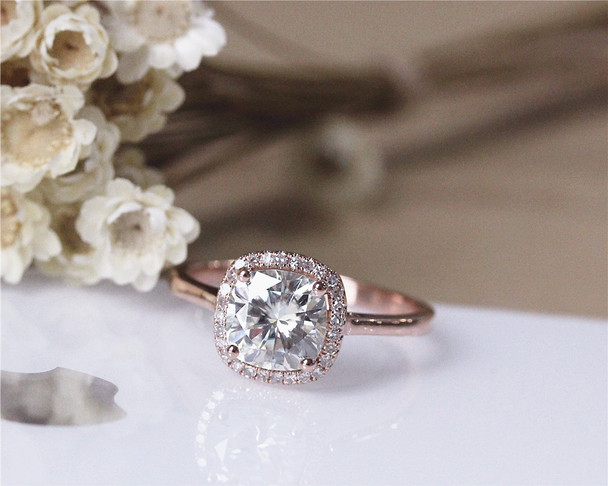 2ct Forever Brilliant 7.5mm Cushion Moissanite Engagement Ring Solid 14K Rose Gold Diamond Ring