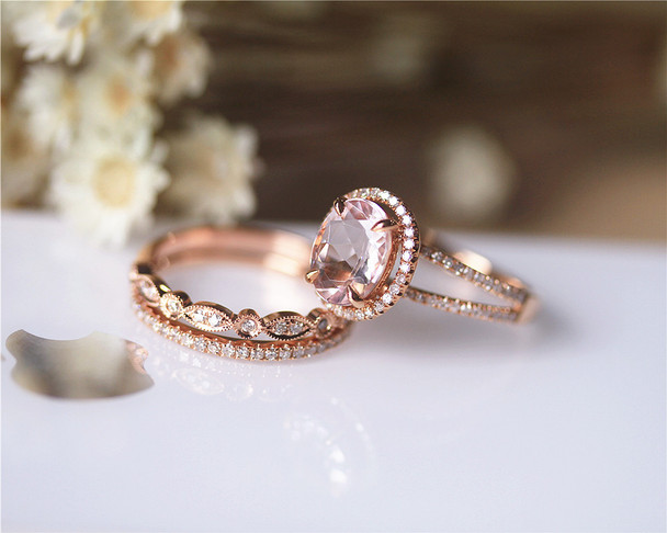 Unique Morganite Ring Set Solid 14K Rose Gold Ring Set Engagement Ring Set Wedding Ring Set