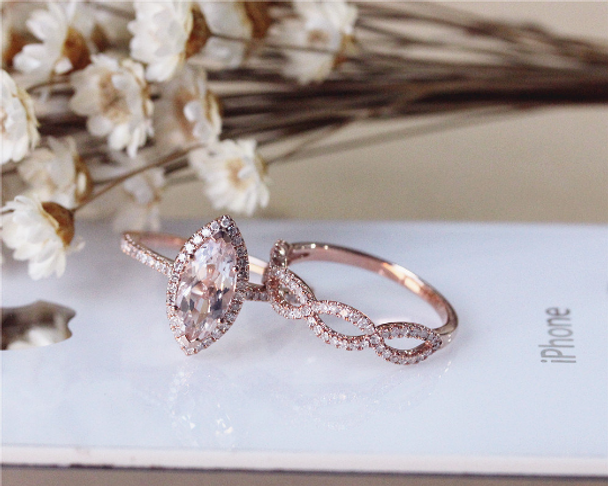 Marquise Morganite Ring Set Solid 14K Rose Gold  Morganite Engagement Ring Set Wedding Ring