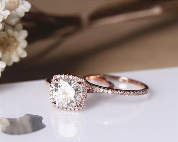 8mm Cushion Charles & Colvard Moissanite Engagement Ring Set Solid 14K Rose Gold Ring Set