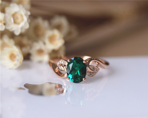 6x8mm Oval AAA Emerald Ring Solid 14K Rose Gold Wedding Ring Emerald Engagement Ring