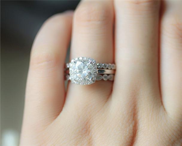 1.7ct Moissanite Ring Set 3 Rings Set Solid 14K White Gold Wedding Ring Set Engagement Ring Set
