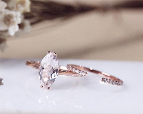 Unique Marquise Morganite Ring Set Solid 14K Rose Gold  Morganite Engagement Ring Set