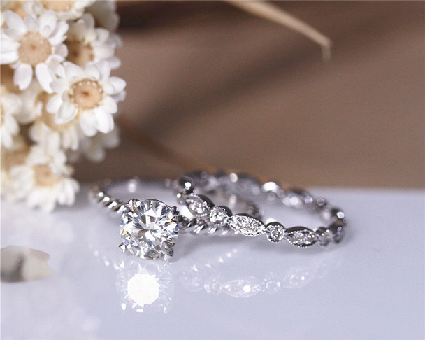 6.5mm Round Moissanite Engagement Ring Set Solid 14K White Gold Wedding Ring Set